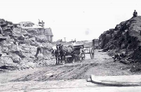 The construction of the first block of Forest Avenue, looking south from Penn Avenue. The home that can be seen in the background is in the 1300 block of Delaware Avenue.